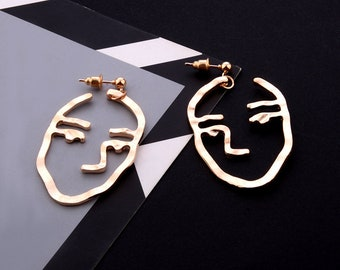 Abstract Art Face Earrings