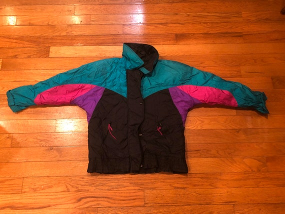 color block 90s puffer jacket
