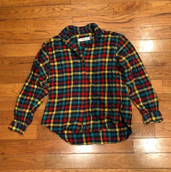90s Rainbow Plaid Button Up
