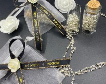 12pcs Funeral FavorR.I.P personalized ribbons   Bracelets D.E.P Listones grabados Recuerdos Para Funerales