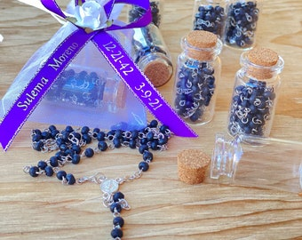 12pcs Funeral Favormemorial favor giftcelebration of life R.I.P personalized ribbons  glass bottle /& Rosary D.E.P Listones grabados
