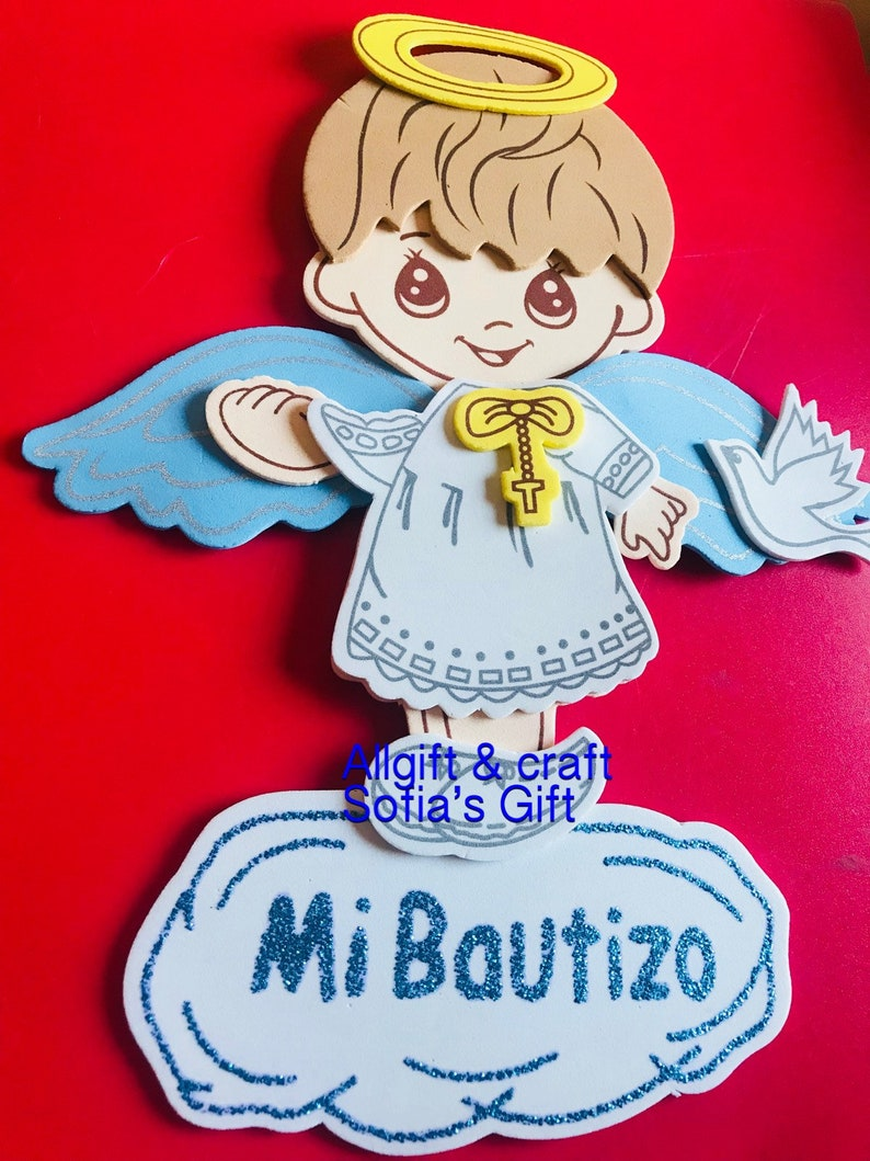 10pcs baptism table decoration foam centerpiece blue angel mi bautizo craft supply