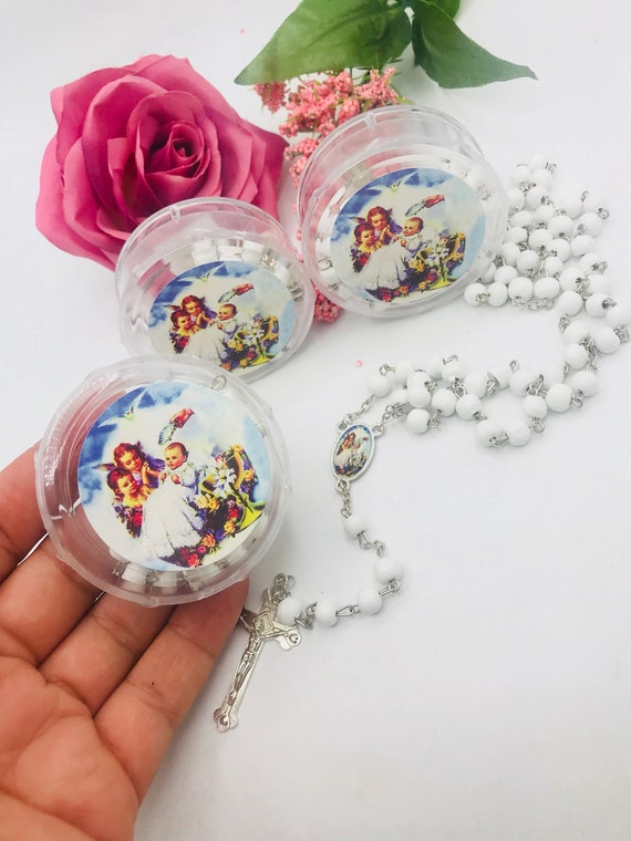 Recuerdos Para Bautizo Con Foto.12pcs Recuerdos Para Bautizo De Nina O Nino Baptism Favors Boys Or Girls White Wood Rosaries With Free Pouches