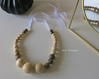 White nursing and Babywearing necklace
