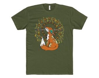 Mens Fox Listening To Music Headphones T-Shirt