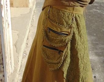 5688f9d0e Parvati skirt, long skirt, gipsy, wrap, tribal, hippie, psy, steampunk,  boho, pockets, psytrance, festival, goa burningman, Ibiza, cotton
