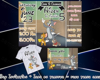 Tom Jerry Invitation Birthday Party Pet Cat Mouse And Iron On Transfer Personalize Printable Digital