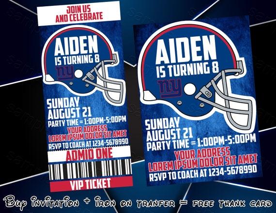innovative design 1cece 16063 New York Giants Football Ticket Invitation, New York Giants Football Iron  On Transfer, Party Invitations, Birthday Invitation