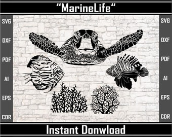 Marine Life Svg. Vector Turtles Clipart. Troquelado Fishes, File Dxf, Silhouettes for textile cutting and CNC laser. Turtle reef silhouette