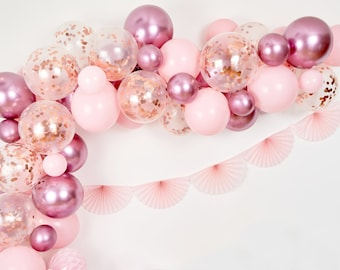 Rose Gold and Pink Balloon Arch, Rose Gold Balloon Garland, Rose Gold Confetti Balloons, Rose Gold Balloon Arch, Pink Balloon Garland