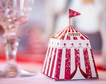 Small Vintage Circus Treat Boxes, Circus Tent Boxes, Circus Themed Party, Funfair Theme, Circus Tableware, Small Gift Boxes, Red and White