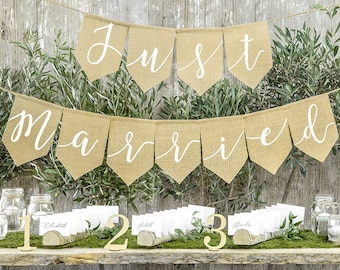 Just Married Banner - Hessian Just Married Banner -Just Married Hessian Bunting - Rustic Wedding Banner - Top Table Decorations - Bunting