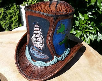 Handmade leather top hat