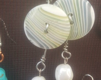 Green,  white and blue swirl button Earrings