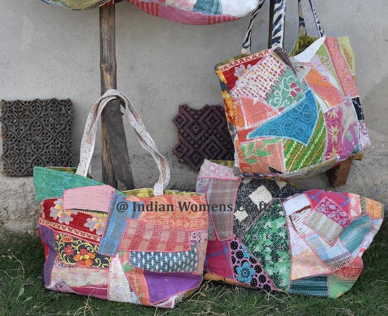 10 pcs lot of Beautiful Vintage cotton kantha Tote bag  shoulder bag  handle bag  Patch Bag