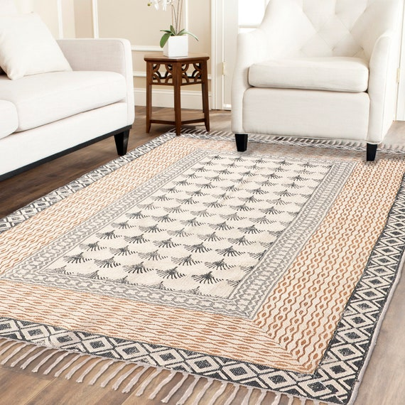 3x5 Feet Handmade Block Printed Indian Rug Carpet Kilim Etsy