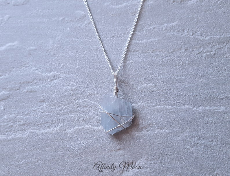 Blue Barite Sterling Silver Crystal Necklace  Crystal  Healing  Crystal Jewellery  Crystal Pendant
