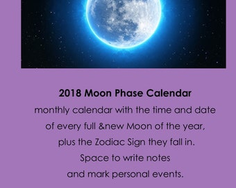Moon phases 2018 | Etsy