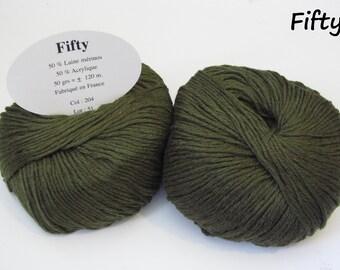 10 balls of 50% Merino Wool / Made in France / khaki Green