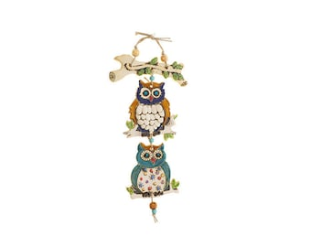 Two owl's Mobile On a branch -Nurit Teva