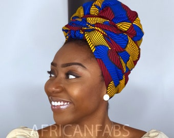 African headwrap - blue / yellow / red Santana - turban / scarf / headband / bandana - Vlisco Hollandais Wax print ankara fabric headtie