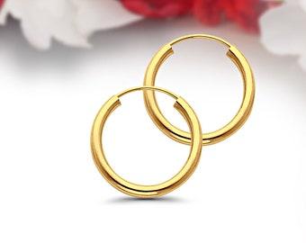 e63111939 Endless Hoop Earrings Solid 14K Yellow Gold 18mm (0.7