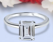 Emerald Cut Simulated Diamond Cathedral Solitaire Wedding Engagement Ring 925 Sterling Silver