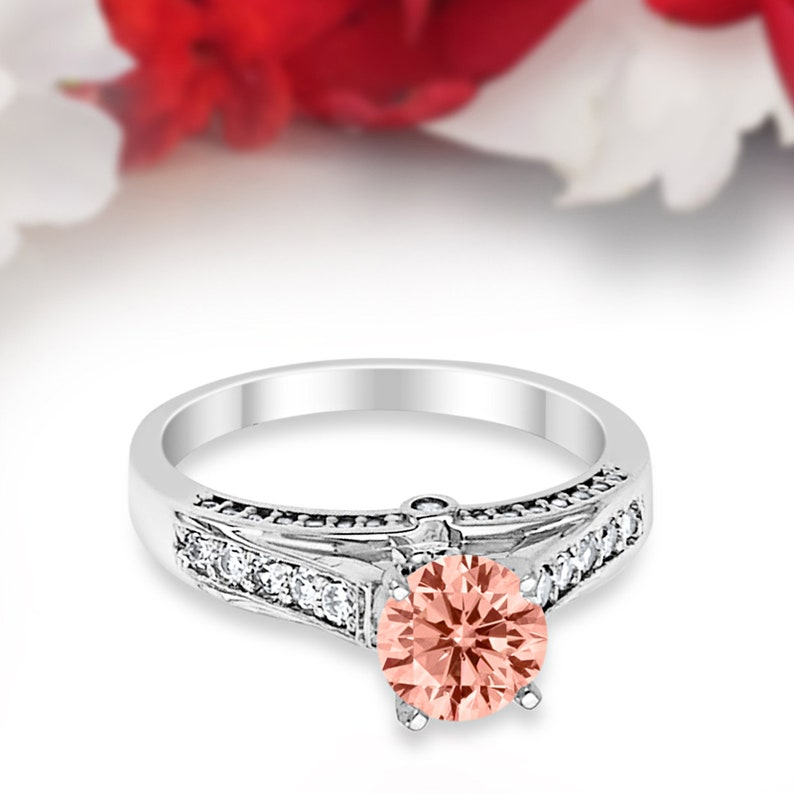 Art Deco Morganite Solid 14K White Gold Vintage Classic Solitaire Accent Dazzling Wedding Engagement Ring Bridal 1 Carat Round Simulated