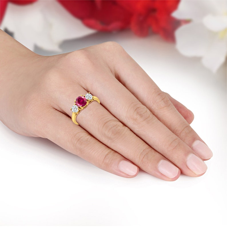 Past present Future 1 Carat Round Simulated Ruby and Diamond 14K Solid Yellow Gold  Wedding Engagement Ring Anniversary Bridal Solid Gold