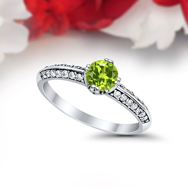 Art Deco Peridot Solid 14K White Gold Vintage Classic Solitaire Accent Dazzling Wedding Engagement Ring Bridal .075 Carat Round Simulated