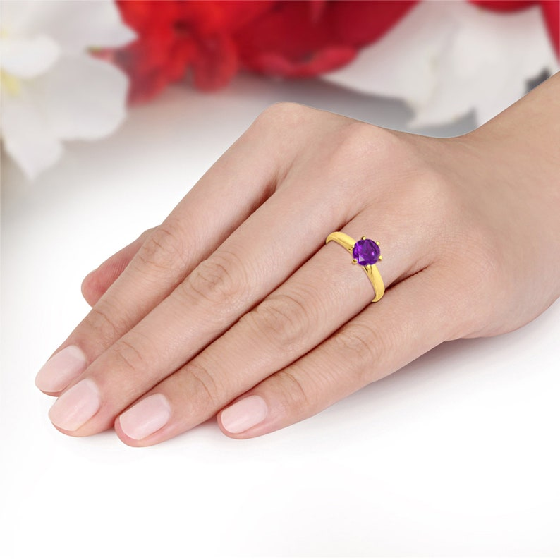 Solitaire 1.25 Carat Round Amethyst CZ 14K Solid Yellow Gold Wedding Engagement Ring 6 Prong Bridal Not Plated Solid Gold
