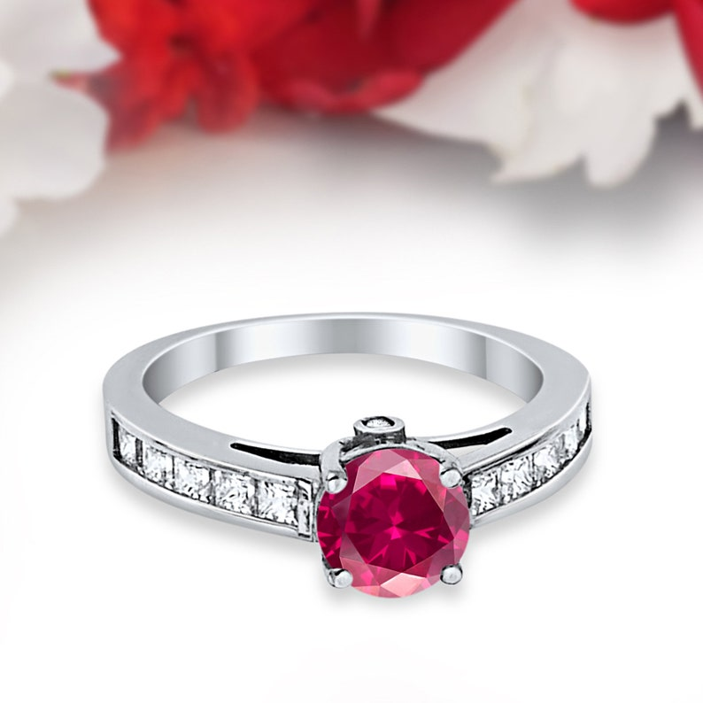 Art Deco 1.00CT Princess Cut Round Simulated Ruby 14K Solid White Gold Wedding Engagement Ring Anniversary Bridal Not Plated Solid Gold
