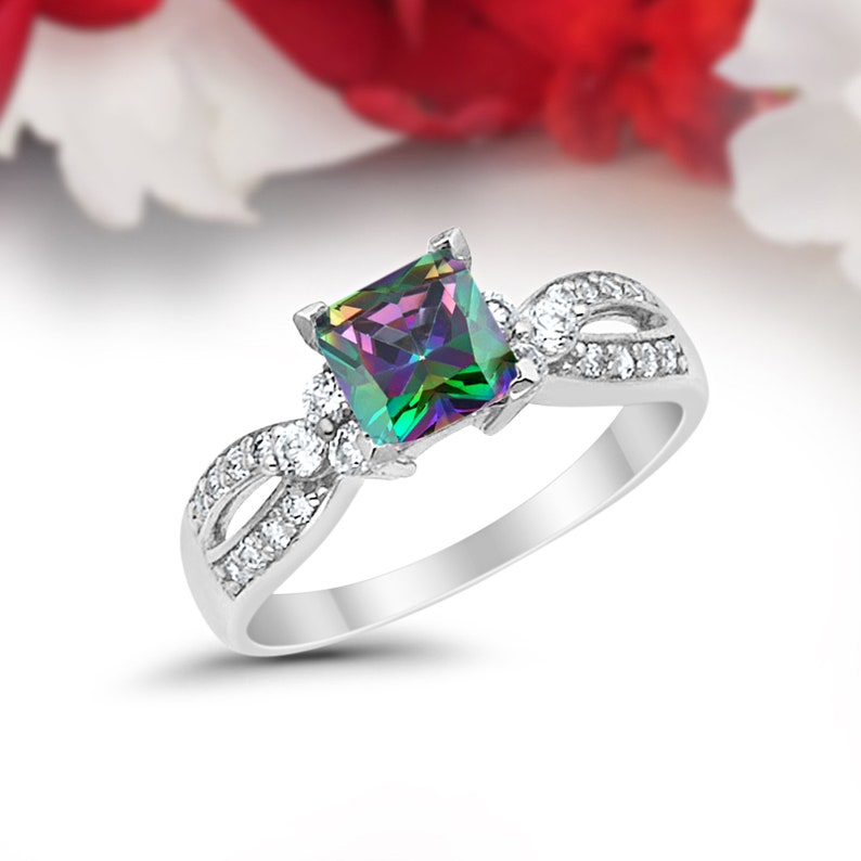 Art Deco Infinity Wedding Engagement Ring 1.50CT Princess Cut Round Simulated Rainbow Solid 14K White Gold Dazzling Solitaire Accent Bridal