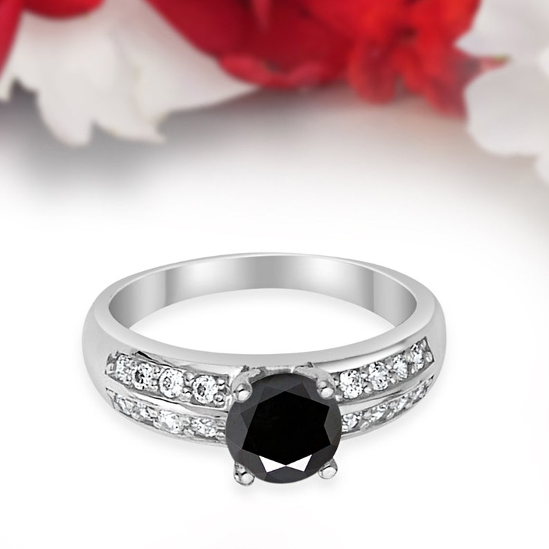 Double Accent 1.00CT Vintage Round Simulated Black CZ 14K Solid White Gold Wedding Engagement Ring Anniversary Bridal Not Plated Solid Gold