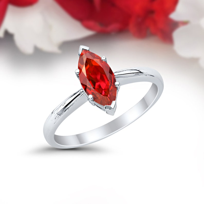 Solitaire Marquise Wedding Engagement Ring 1.00CT Marquise Shape Simulated Garnet Solid 14K White Gold Dazzling Anniversary Bridal