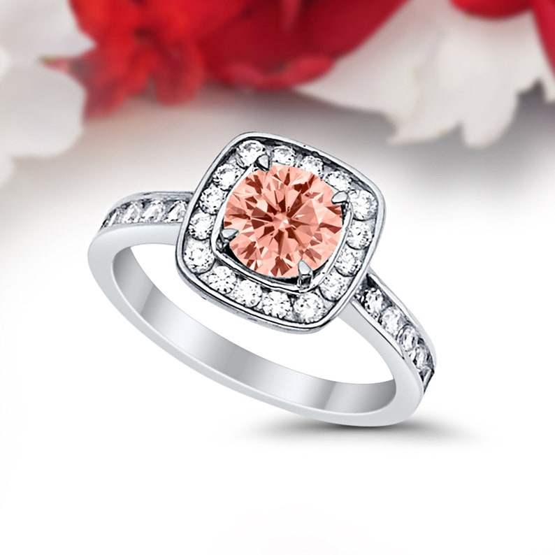 Solid 14K White Gold Halo Vintage Solitaire Accent Wedding Engagement Ring Bridal 1.00 Carat Round Morganite CZ Accent