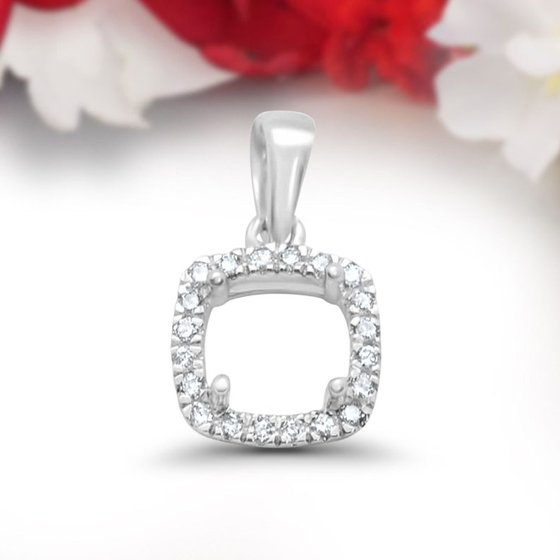 Art Deco Solid 0.09ct 14k White Gold Cushion Square Diamond Semi Mount Pendant