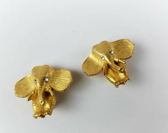 PAIR STERLING ELEPHANT CRYSTAL RHINESTONE EARRINGS V967