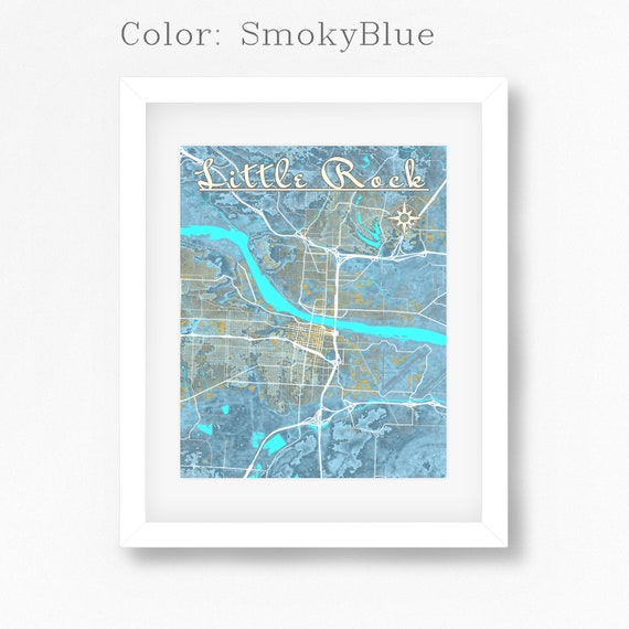 Little Rock Arkansas Map Art Print