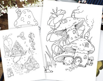 Fairy Coloring Pages Mythical Creatures Magical Kingdom Etsy