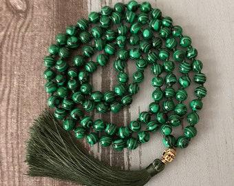 Green Malachite 108 Bead Mala Meditation Yoga Buddha Prayer Beads Necklace