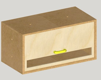 A1 - MDF Storage Box With 1 Drawer (Shed, Woodshop)