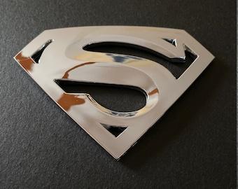 Superman Thin Blue Line Shield Logo Chrome Badge ID Card Holder