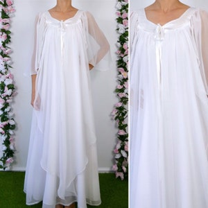 Medium 1970s Bohemian Dress Sheer Lace Panels Alternative Wedding Dress Bell Sleeves Boho Loose Flowy 70s Vintage