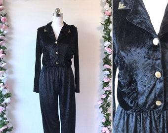 884578700e54 Vintage 80s Black Velvet Jumpsuit - 1980s Playsuit Romper Gold Cocktail -  Medium Large US 6 8   AU 10 12   EU 38 40 - My Vintage Party Dress