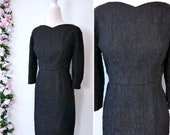 50s Black Wiggle Dress, 1950s Floral Fitted Cocktail Dress, Wedding Guest Dress, Large Plus Size, Low Back Metal Zip- My Vintage Party Dress