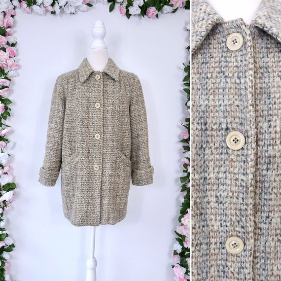 Vintage 70s Plaid Wool Coat Retro 1970s Coat Beige