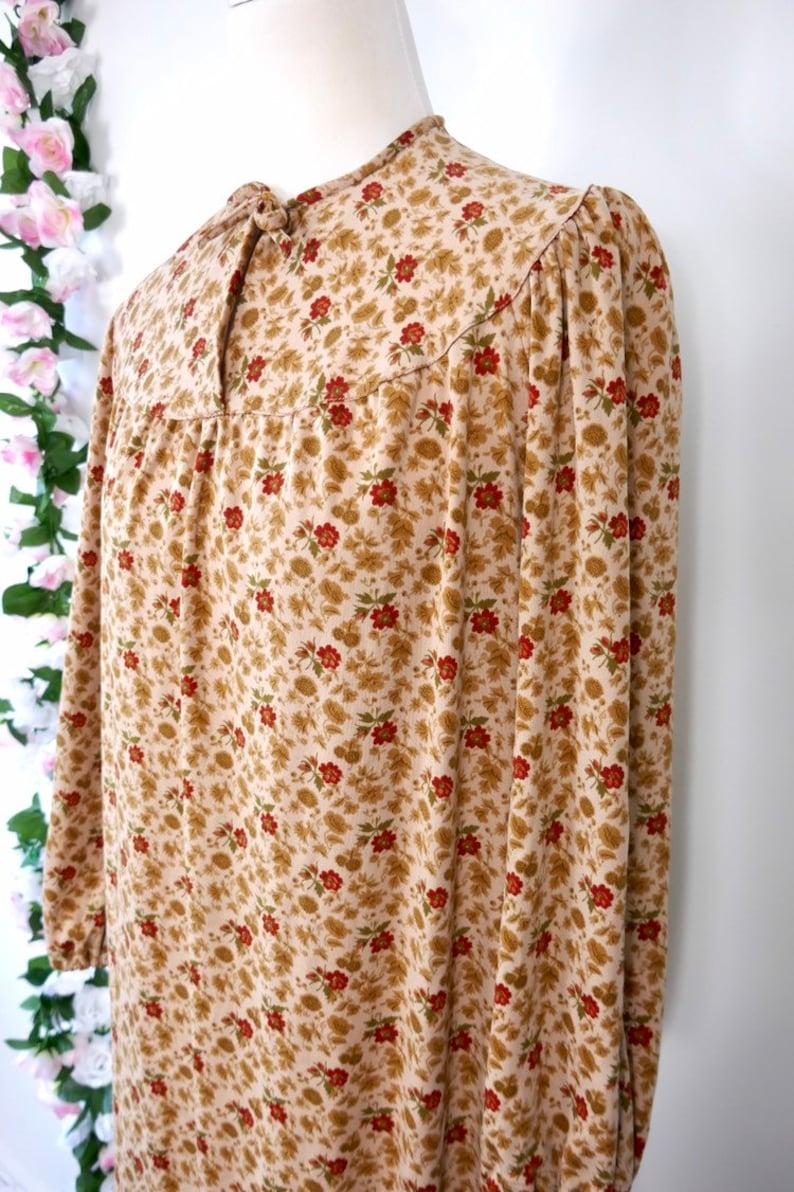 Vintage 70s Floral Day Dress Beige Brown Red Boho Chic Bohemian Hippie Festival Romantic Medium Large Retro 1970s Winter Dress