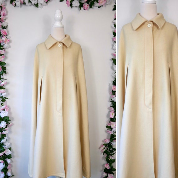 Vintage Wool Cape Beige Off White 70s Coat, Long K