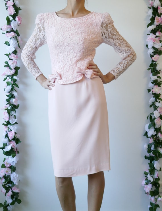 Vintage 80s prom dress size S in blush pink wedding guest